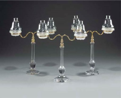A group of three glass and bra