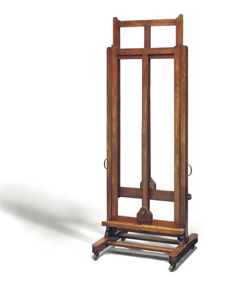A mahogany double-sided gallery easel