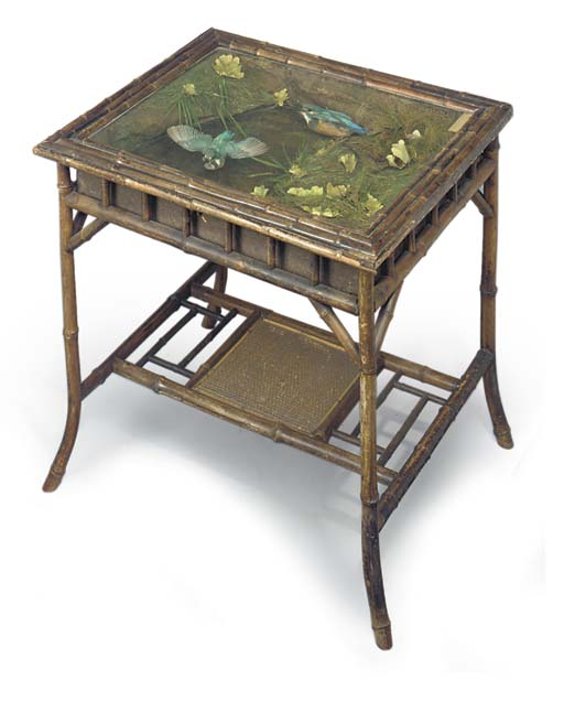 A late Victorian or Edwardian taxidermy table