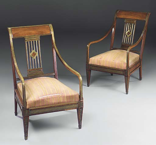 A PAIR OF RUSSIAN BRASS MOUNTED MAHOGANY ARMCHAIRS