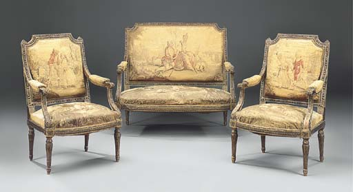 A FRENCH GILTWOOD AND AUBUSSON TAPESTRY UPHOLSTERED THREE-PIECE SALON SUITE