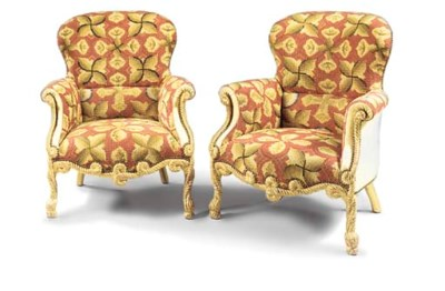 A PAIR OF GILTWOOD AND NEEDLEW