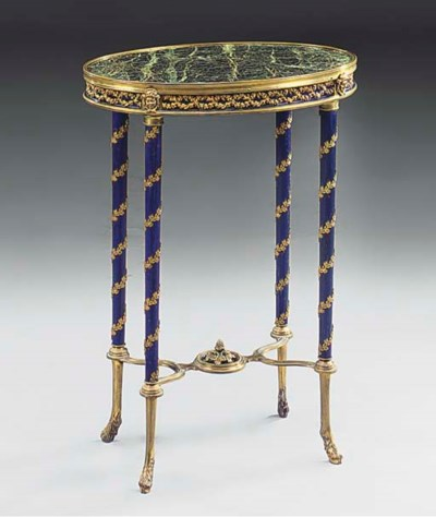 A FRENCH ORMOLU MOUNTED BLUE P