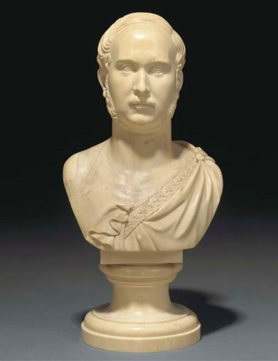A large ivory bust of a gentle