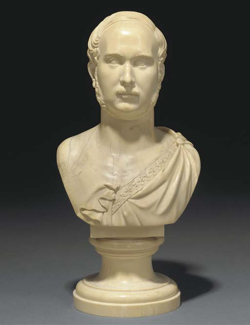 A large ivory bust of a gentleman
