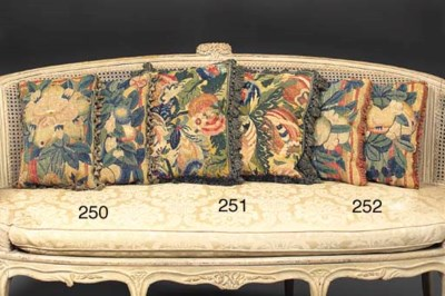 A PAIR OF FLORAL TAPESTRY CUSH