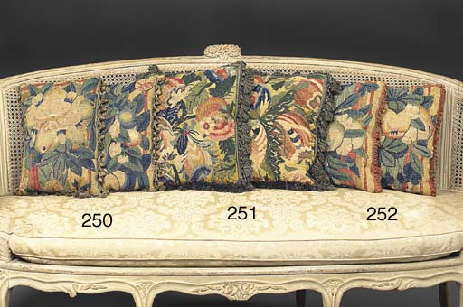 A PAIR OF FLORAL TAPESTRY CUSHIONS
