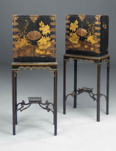 A PAIR OF JAPANESE BRASS-MOUNT