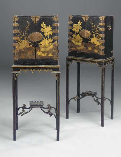 A PAIR OF JAPANESE BRASS-MOUNTED LACQUER CABINETS