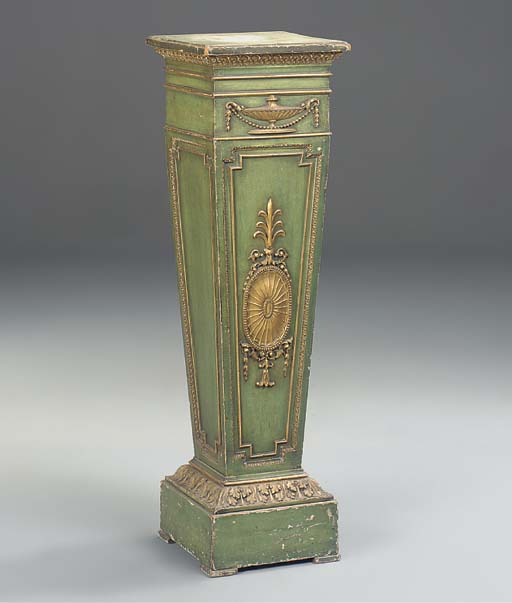 A GREEN PAINTED AND PARCEL GILT PEDESTAL