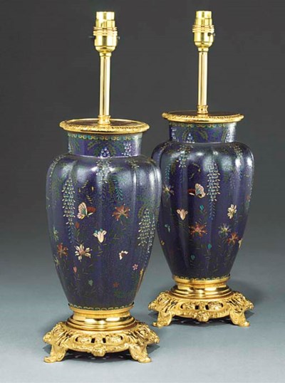 A pair of cloissone enamel vas