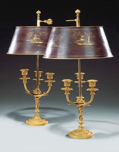 A pair of gilt bronze bouillot