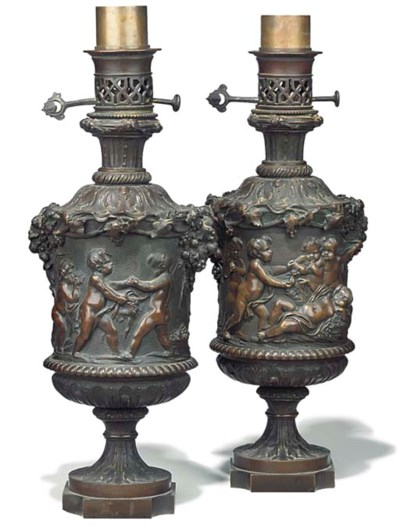 A pair of French bronze table