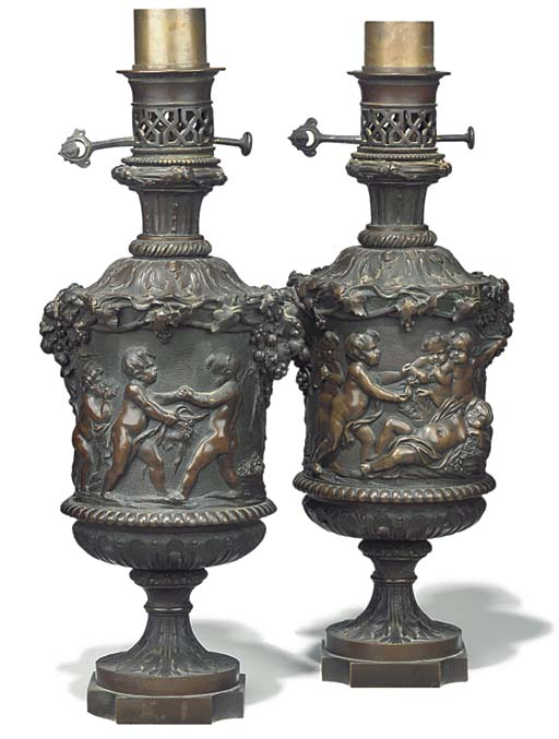 A pair of French bronze table lamps