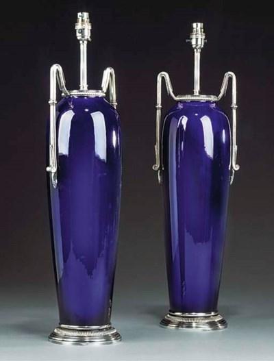 A pair of blue ceramic table l