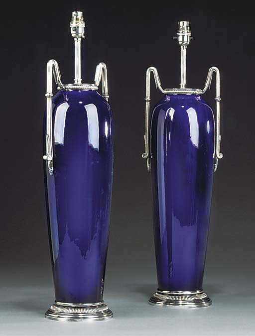 A pair of blue ceramic table lamps