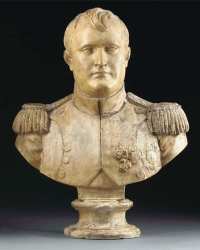 A French plaster bust of Napol