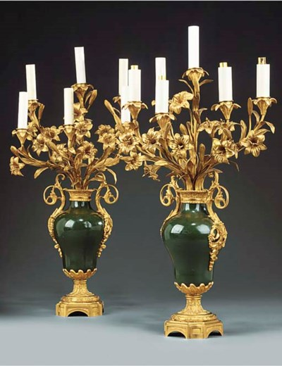 A pair of French gilt and pain