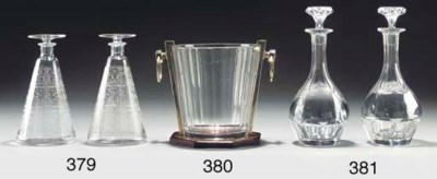 A pair of French glass decante