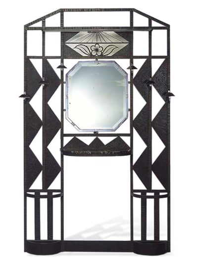 An art deco iron hall stand