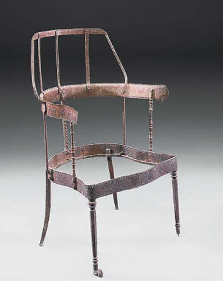A WROUGHT IRON CHAIR FRAME