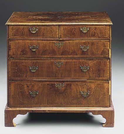 A WALNUT AND INLAID CHEST