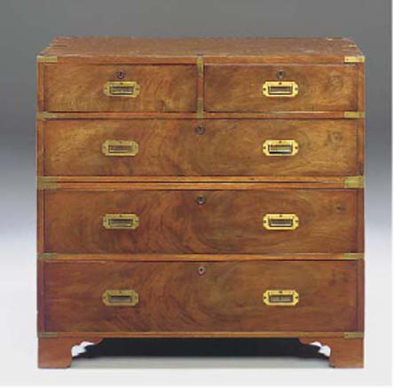 A MAHOGANY AND TEAK CHEST OF C