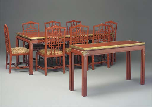 A TEN-PIECE RED LACQUERED DINI