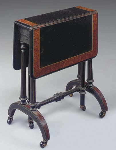 A VICTORIAN EBONISED AND AMBOY