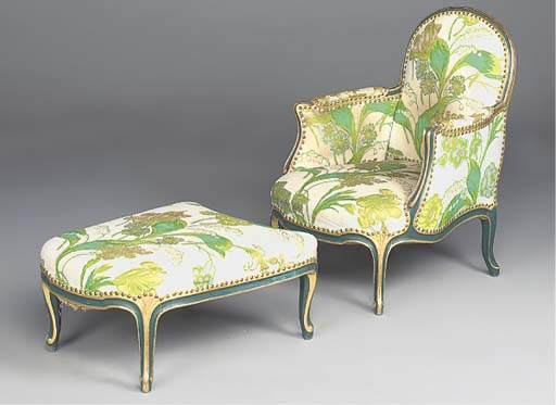 A FRENCH GILT AND GREEN-PAINTE