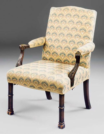 A mahogany and upholstered ope
