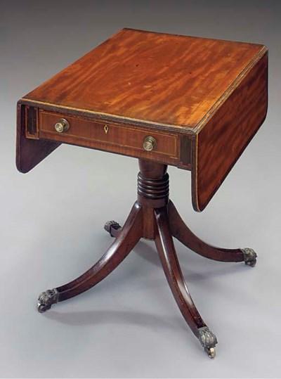 A mahogany, inlaid and ebonise