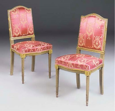 A pair of painted and parcel g