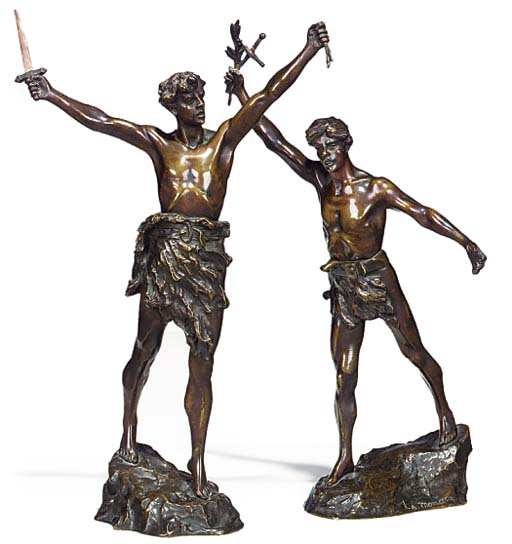 A PAIR OF FRENCH BRONZE MODELS OF STRIDING MEN