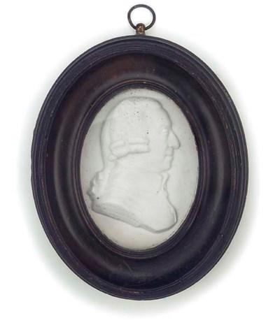 A GEORGE III GLASS PASTE PORTR