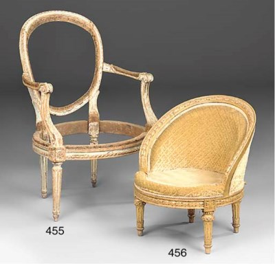 A French painted fauteuil