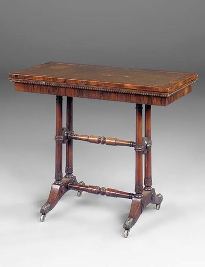 A rosewood card table