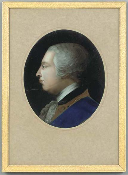 A portrait mezzotint under gla