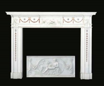 A REGENCY WHITE MARBLE AND SCA