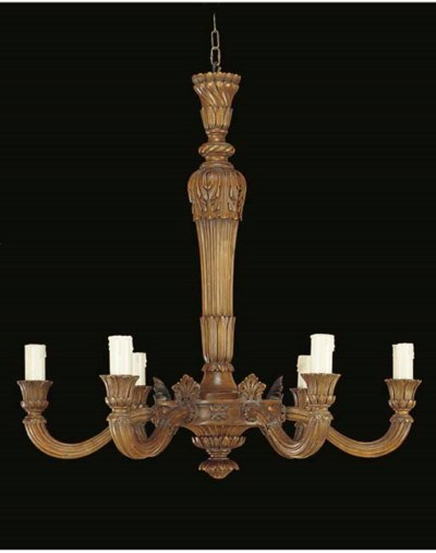 A Continental carved wood six-