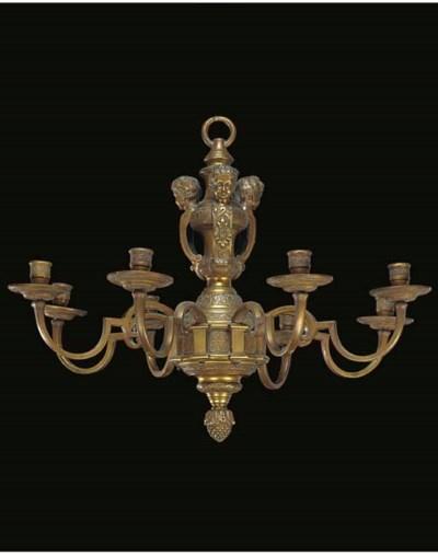 A gilt brass branch light chan