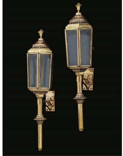 A pair of brass carriage lante