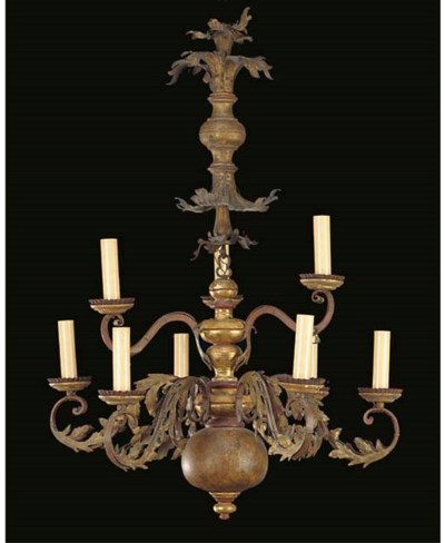 AN ITALIAN GILTWOOD AND WROUGH