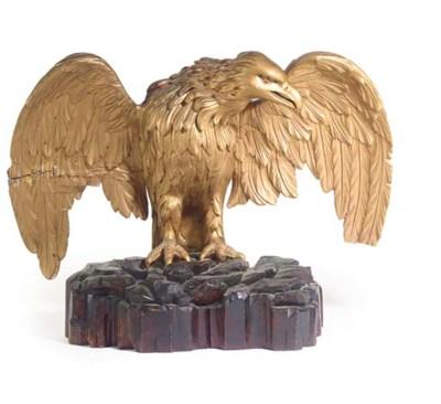 A large carved giltwood eagle