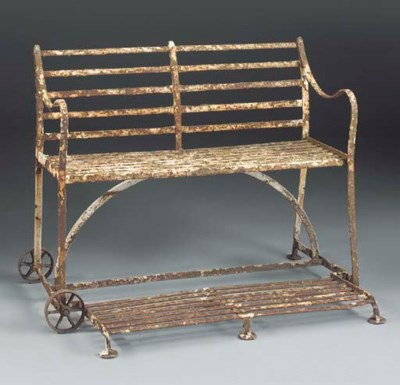 A wrought-iron games seat