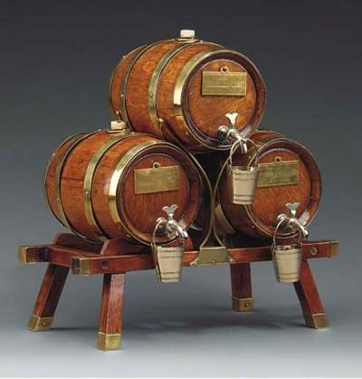 A Victorian set of three brass