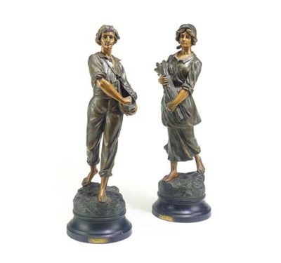 A pair of French patinated spe