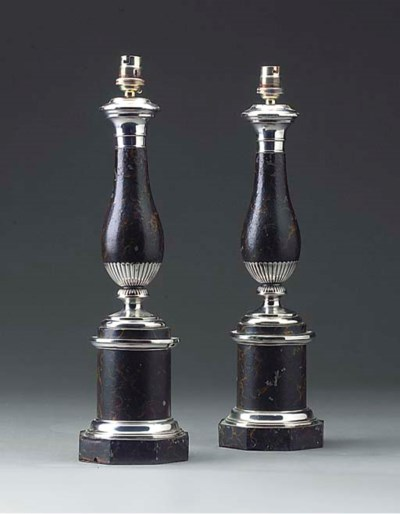 A pair of French silvered tole
