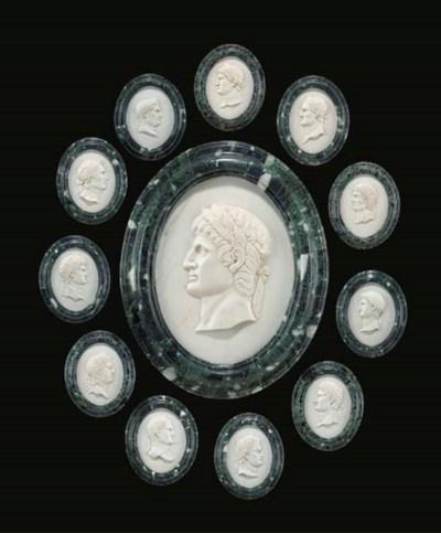 A set of Twelve white marble r