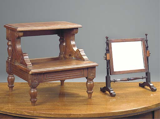 A SET OF MAHOGANY BED STEPS